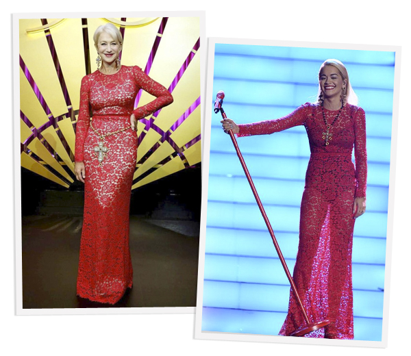 Helen Mirren versus Rita Ora: wie droeg D&G het best