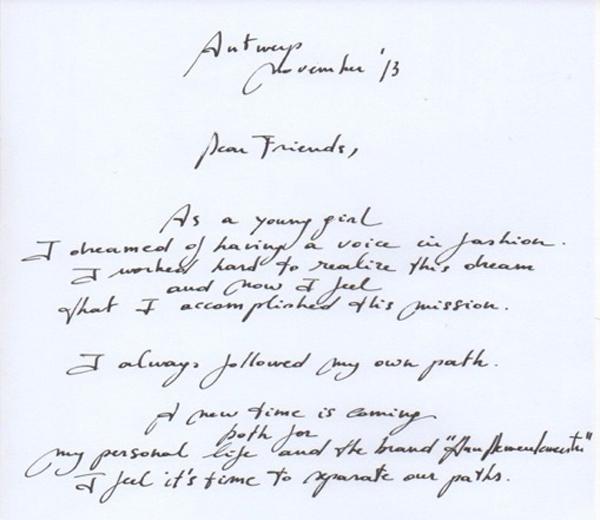 Ann Demeulemeester neemt afscheid met brief