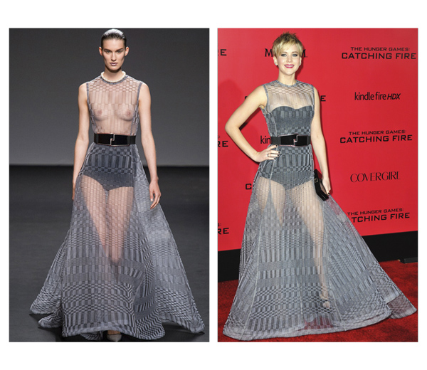 Hot or Not: Jennifer Lawrence in doorzichtige Raf Simons jurk