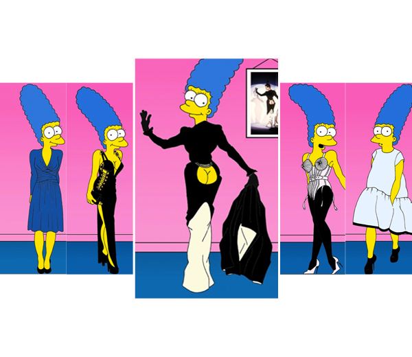 Pimp de Simpsons: Marge Simpson poseert in iconische jurken
