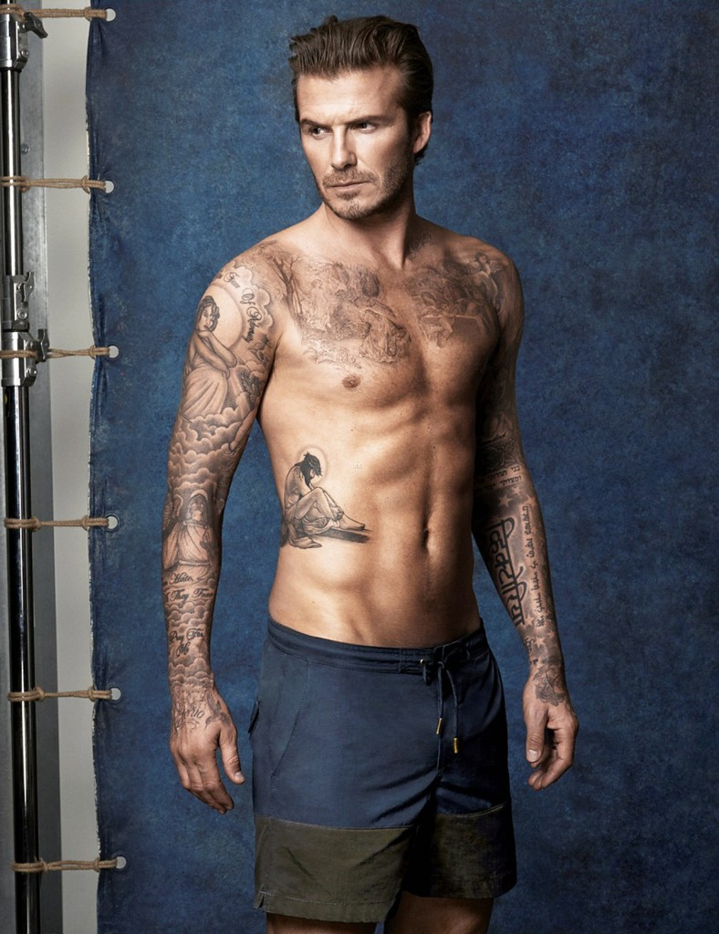 English former footballer David Beckham poses shirtless for H&M Swimwear 2014 collection
