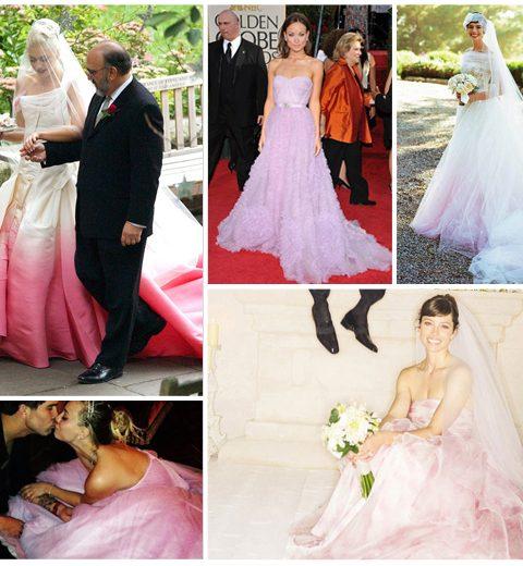 Inspiratie: celebs met roze bruidsjurken