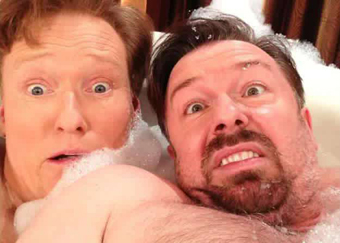 Conan O'Brein en Ricky Gervais