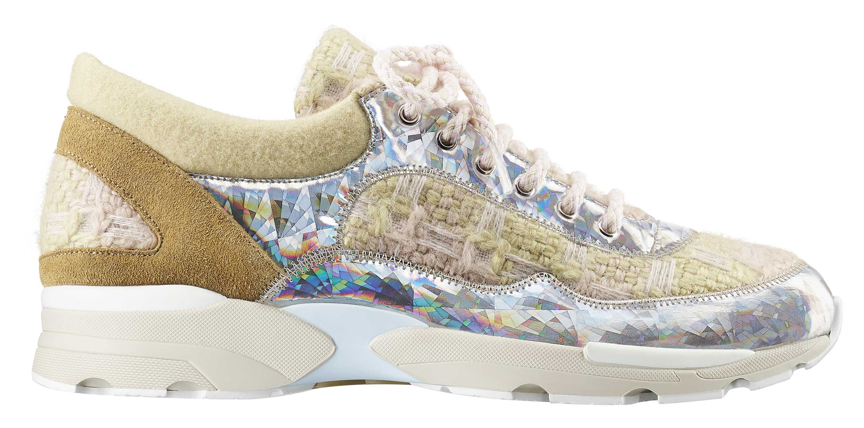 Beige-tweed,-suede,-PVC-and-rubber-sneaker_Basket-en-tweed-beige,-daim,-PVC-et-caoutchouc