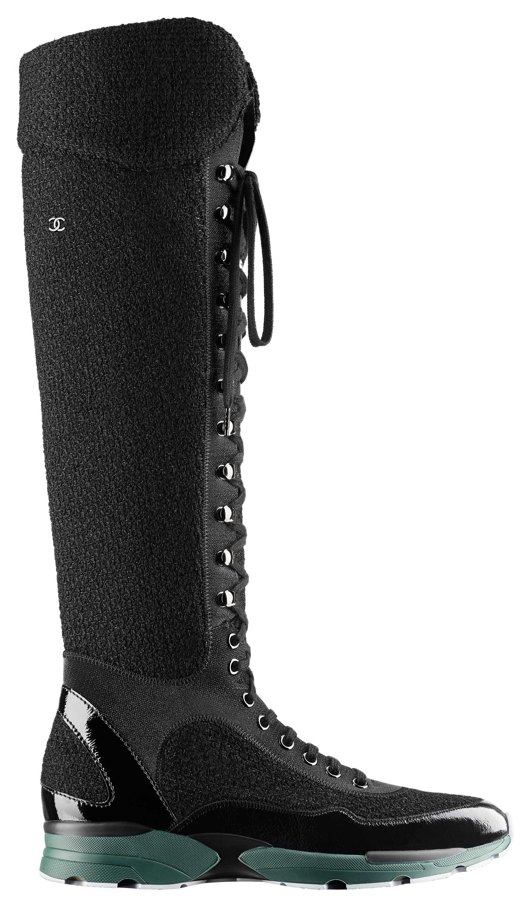 Black-tweed,-leather-and-rubber-sneaker-Basket-noire-en-tweed,-cuir-et-caoutchouc