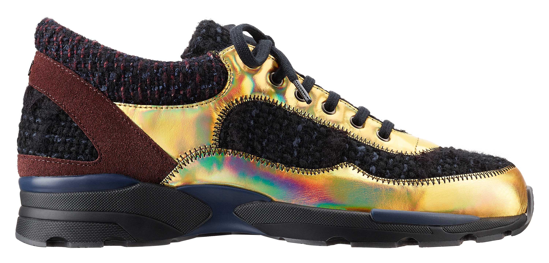 Black-tweed,-leather-and-rubber-sneaker_Basket-noire-en-tweed,-cuir-et-caoutchouc
