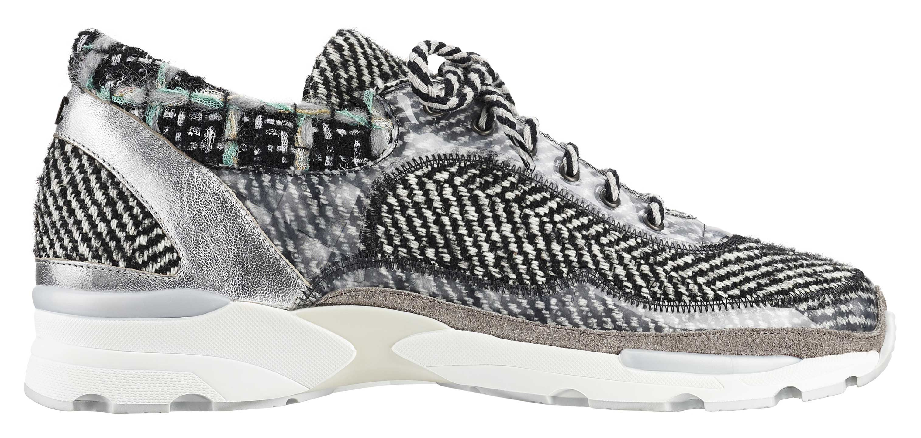 Grey-tweed,-leather,-PVC-and-rubber-sneaker-Basket-en-tweed-gris,-cuir,-PVC-et-caoutchouc