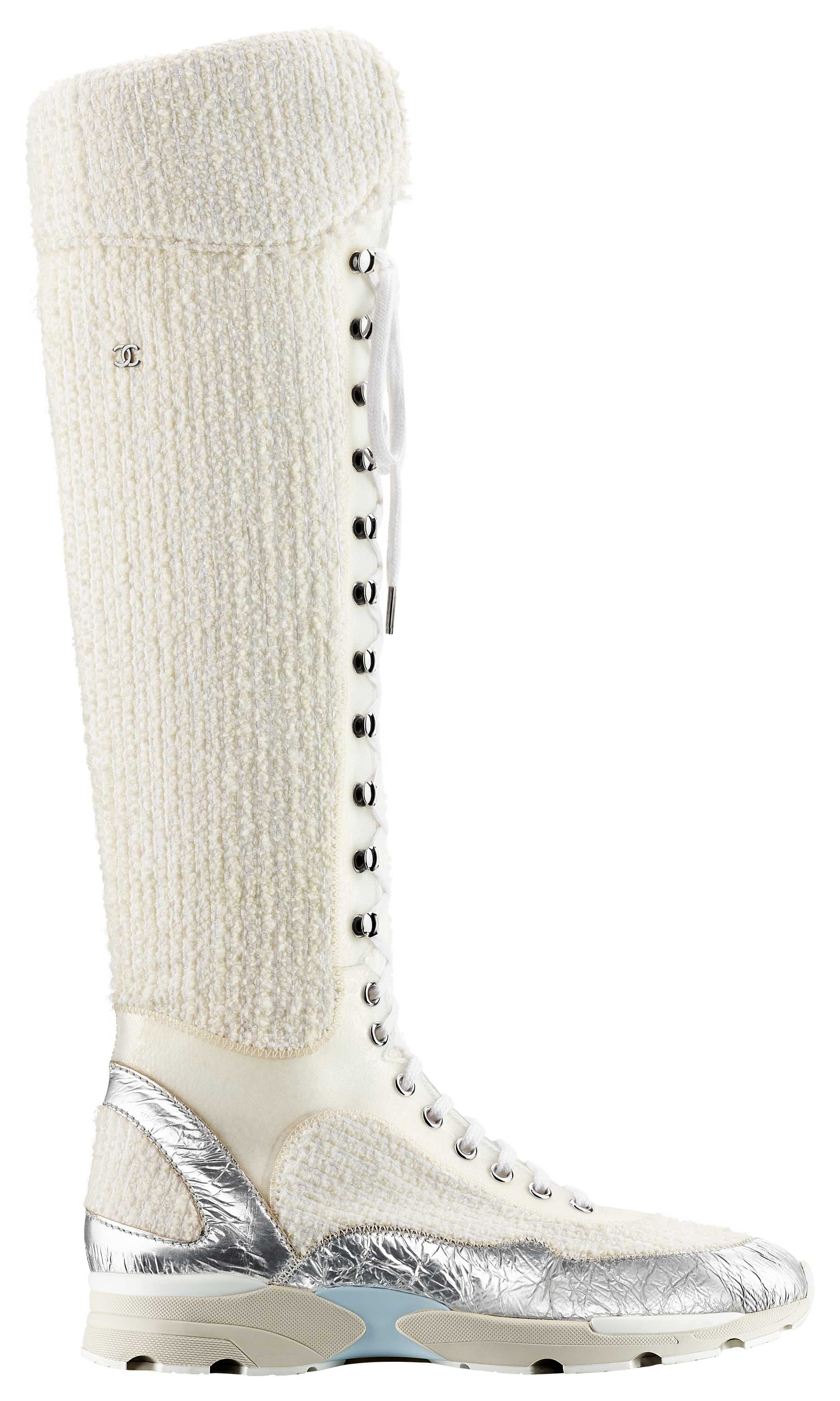 White-tweed,-leather-and-rubber-sneaker_Basket-blanche-en-tweed,-cuir-et-caoutchouc