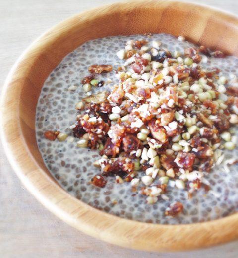 Platte buik ontbijt: Vanille Chiapudding