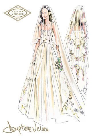 Fashion Sketch of Angelina Jolie's Wedding Dress by Versace