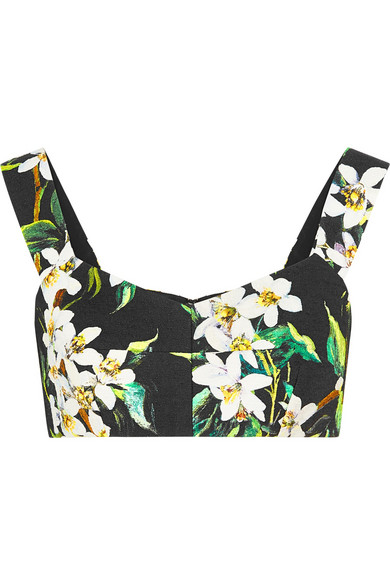 DOLCE & GABBANA - Cropped floral-print woven cotton top - €385
