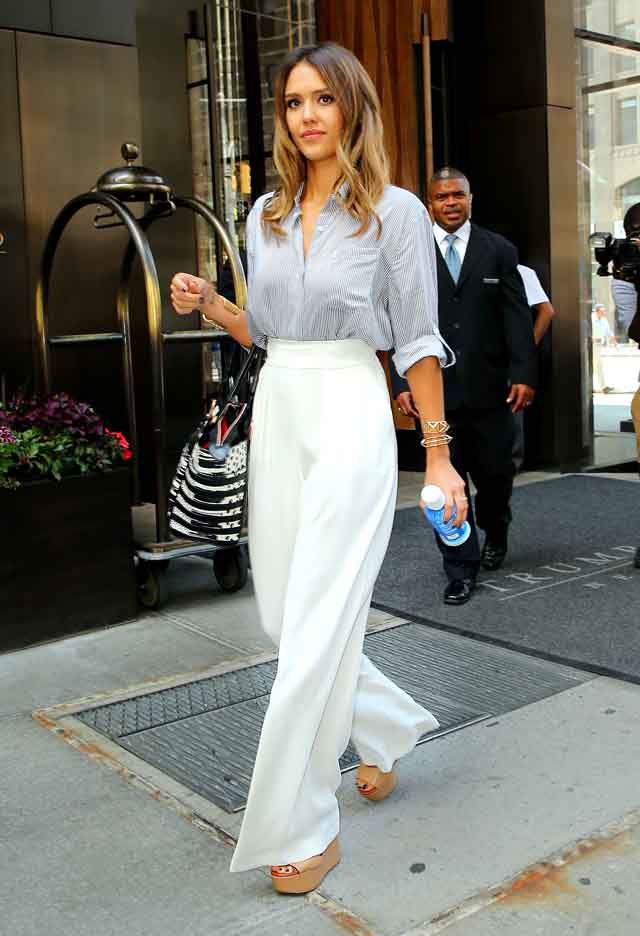 Jessica Alba heads out of her hotel in NYC