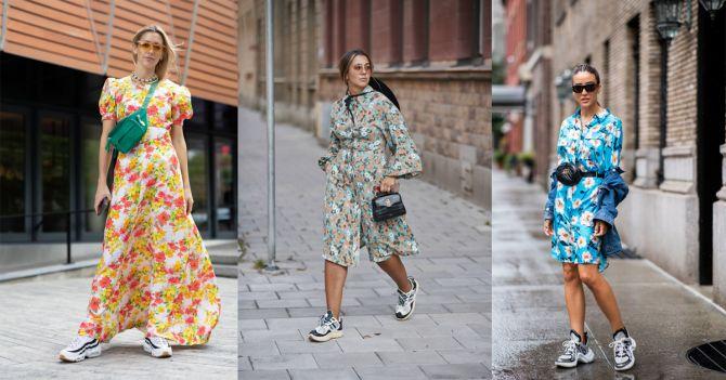 sneakers styling jurk bloemen streetstyle