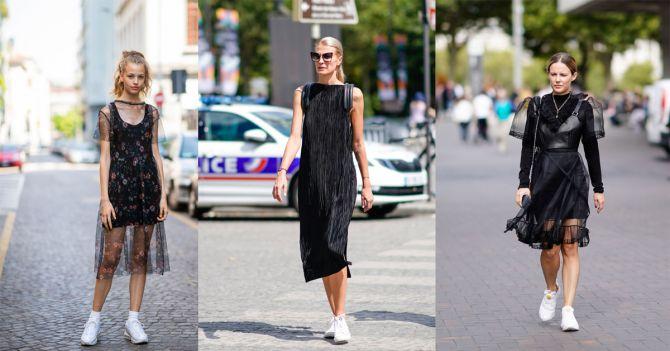 sneakers little black dress styling