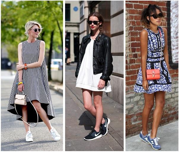 Sneakers onder jurkje 2015
