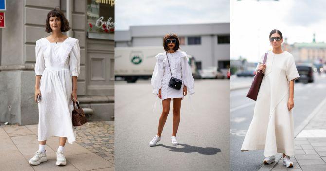 witte jurk witte sneakers