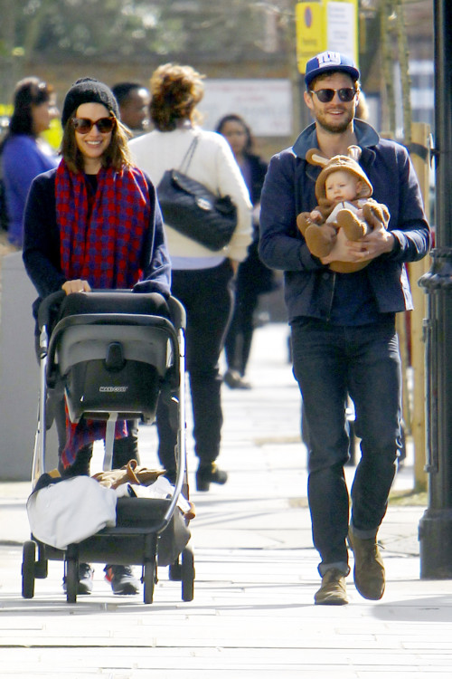 "**USA ONLY** *EXCLUSIVE* London, UK - Jamie Dornan and wife Amelia Warner are seen enjoying a walk in the London sunshine with their baby daughter who is dressed like a rabbit. The ""Fifty Shades of Grey"" actor looked happy and relaxed as he cradled the baby in his arms, smiling at onlookers as they headed to a local coffee shop. AKM-GSI March 13, 2014 **USA ONLY** To License These Photos, Please Contact : Steve Ginsburg (310) 505-8447 (323) 423-9397 steve@akmgsi.com sales@akmgsi.com or Maria Buda (917) 242-1505 mbuda@akmgsi.com ginsburgspalyinc@gmail.com"
