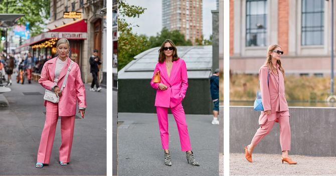 roze kostuum outfit shopping broekpak blazer