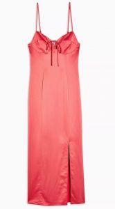 topshop roze satijnen jurk
