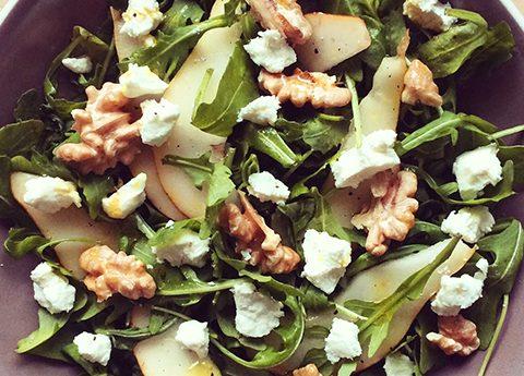 Salade met geitenkaasv