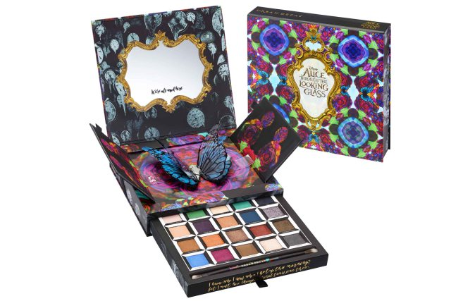 """Products from Urban Decay's collaboration with Disney for the """"Alice Through the Looking Glass"""" collection."""
