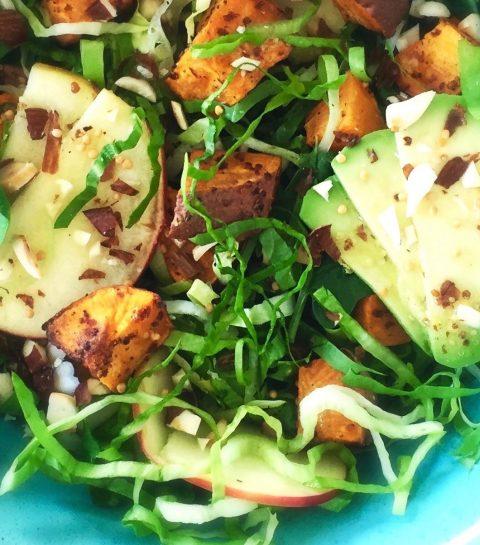 Geroosterde Zoete Aardappelsalade met Mosterddressing