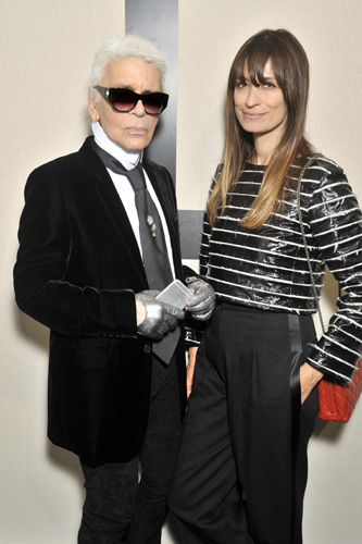 Karl Lagerfeld and Caroline de Maigret - photo Stéphane Feugère