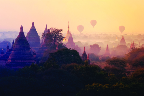 Sunrise over the Bagan pagodas in Myanmar