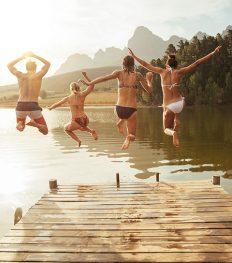 zwemvijver, openlucht, zwembad, zwemmen, zomer