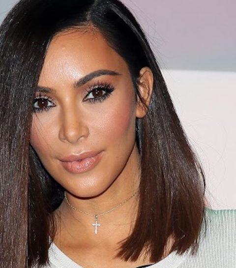 Kim Kardashian laat make-up en broek achterwege