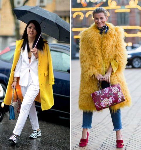 Zo draag je de gele mantel deze winter