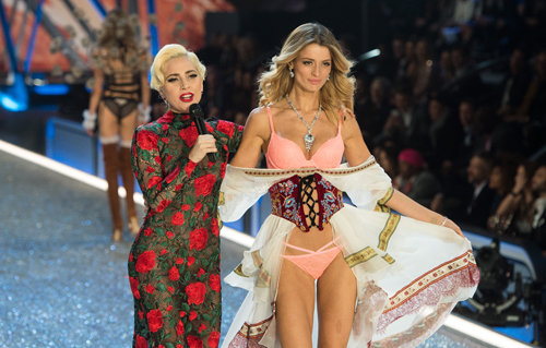 PARIS, FRANCE - NOVEMBER 30: Lady Gaga and Flavia Lucini walk the runway during the annual Victoria's Secret fashion show at Grand Palais on November 30, 2016 in Paris, France. (Photo by Samir Hussein/Samir Hussein/WireImage)