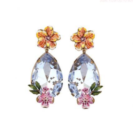 bloemen oorclips juwelen zomer