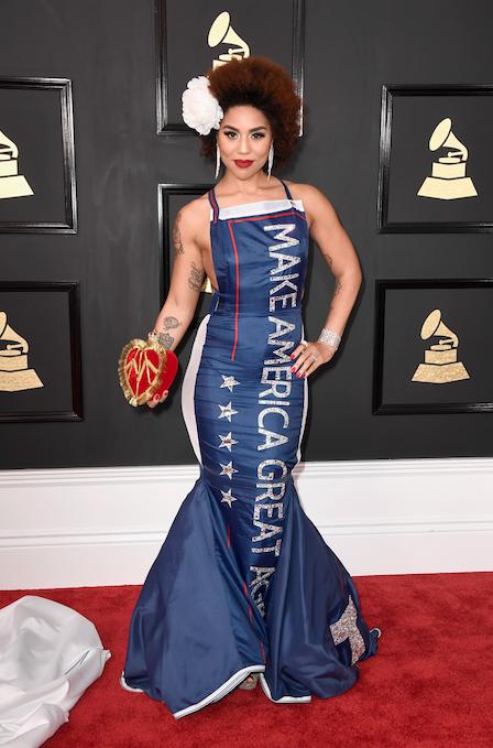 Grammy Awards 2017 Joy Villa Trump make america great again