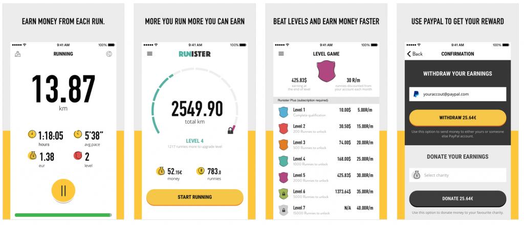 runister app lopen voor geld