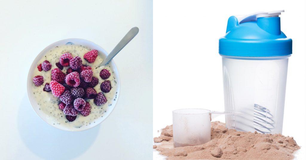 dieet-proteïnedieet-eiwitten-eiwitshake-shake-frambozen-chia