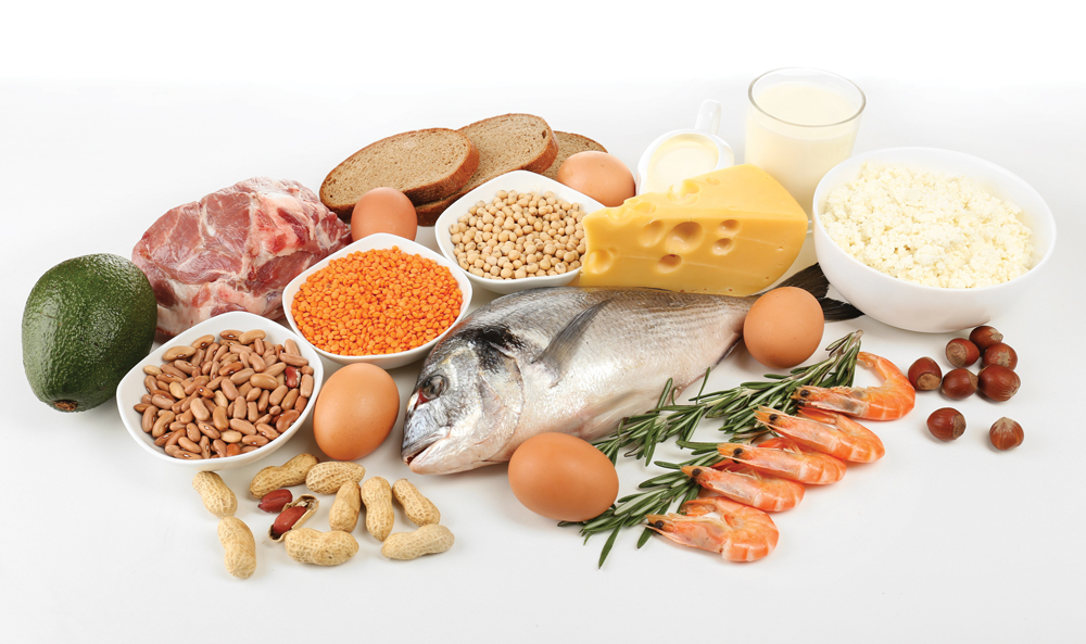 dieet-prpteïne-proteïnedieet-vis-vlees-ei-eieren-kaas-tofu-noten-linzen-bonen-avocado
