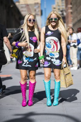 streetstyle fashion week BFF Moschino flashy comic