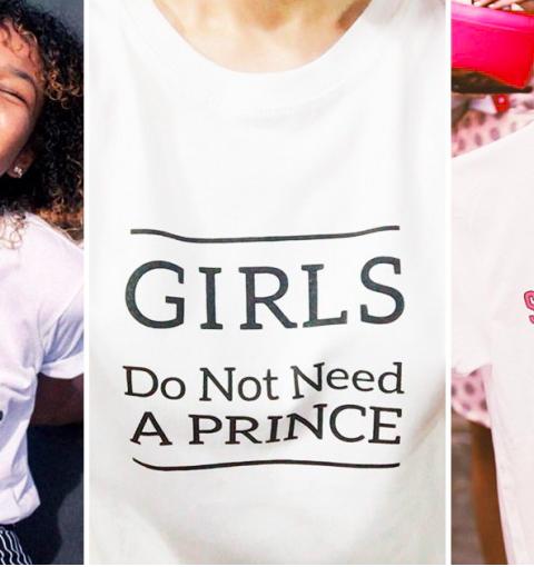 WE LOVE: girl power T-shirt met feministische slogans