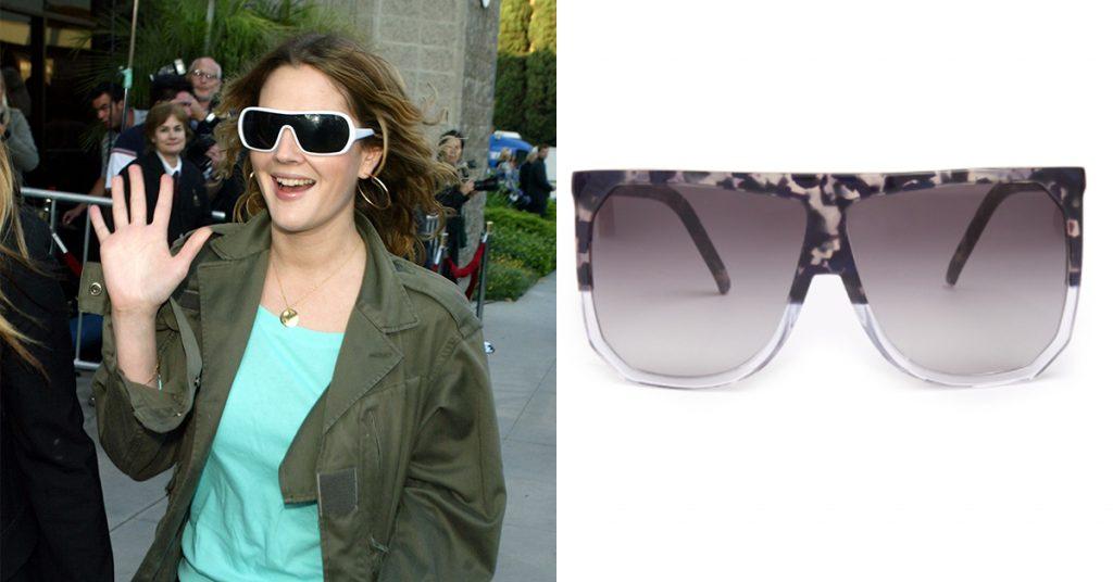 Lenteshopping zonnebrillen voor elke gezichtsvorm drew barrymore rond gezicht