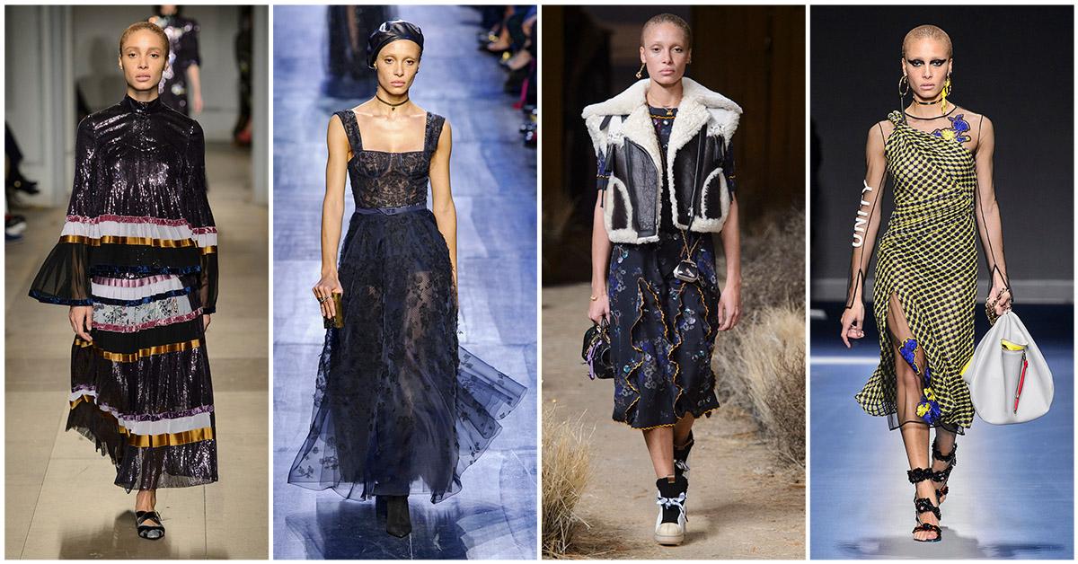 Adwoa Aboa, model, catwalk, modeweken, Erdem, Dior, Coach, Versace