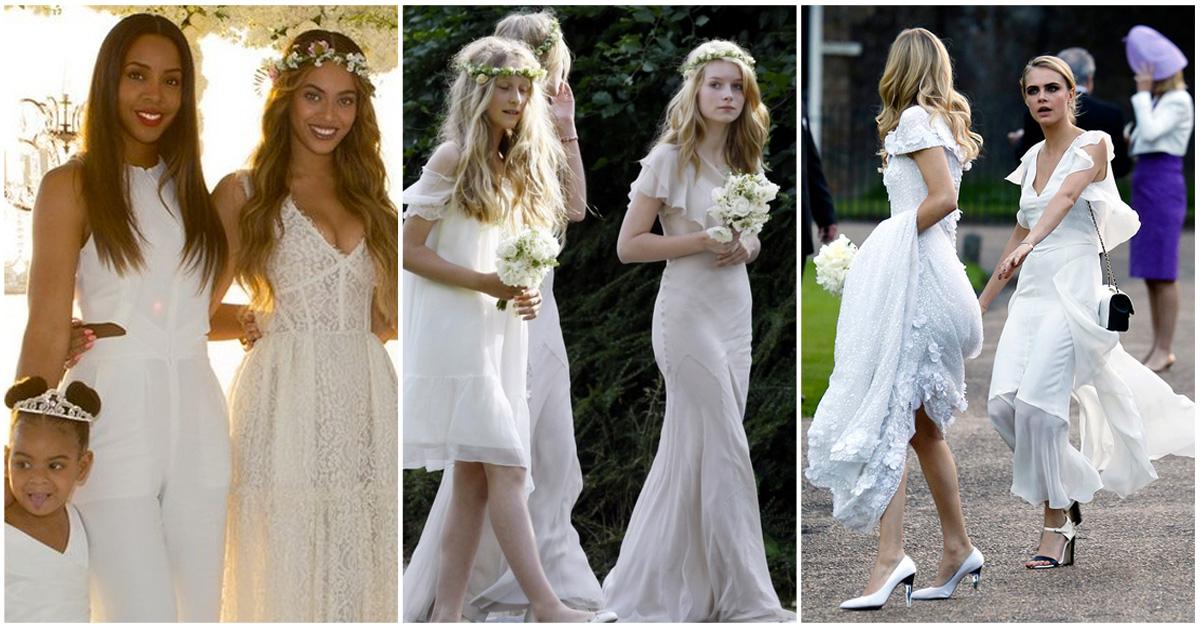 bruidsmeisjes stijltips bruidsjurk wit cara delevingne beyoncé lottie moss
