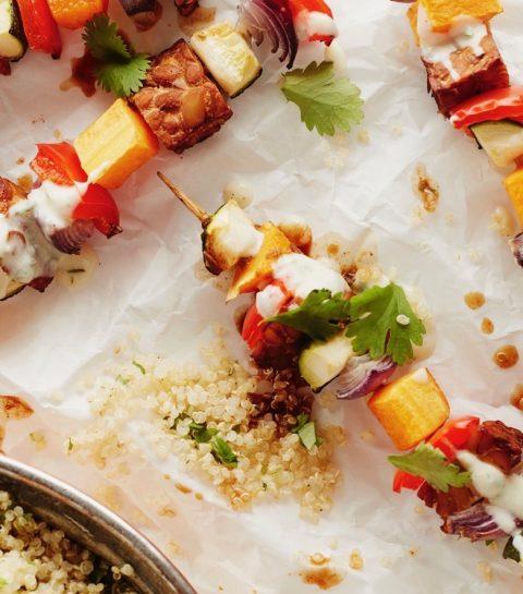 Vegan Barbecue: Groentebrochettes met Mexicaanse quinoa