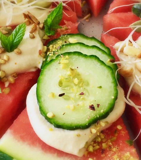 Recept: Watermeloenpizza met Notenkaas