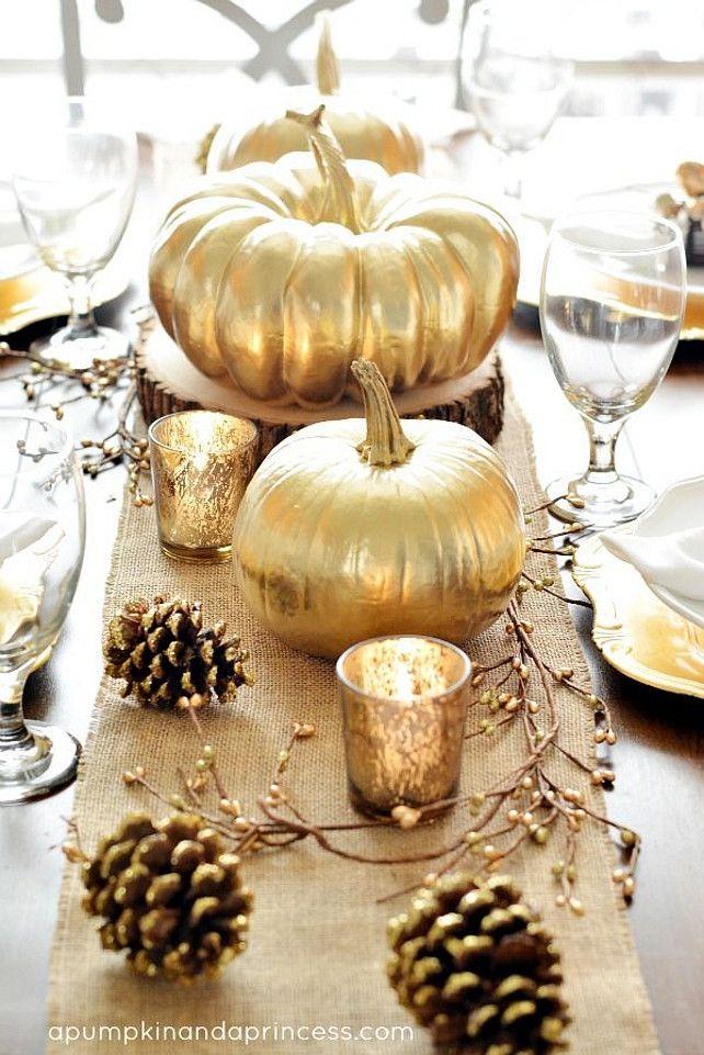 halloween herfsttafel deco goud
