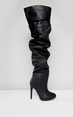shopping leer dijlaarzen dijlaars boot knie knee trend laars accessoire winter schoen asos public desire