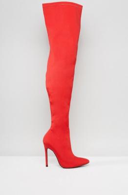 shopping leer dijlaarzen dijlaars boot knie knee trend laars accessoire winter schoen asos truffle colection satijn