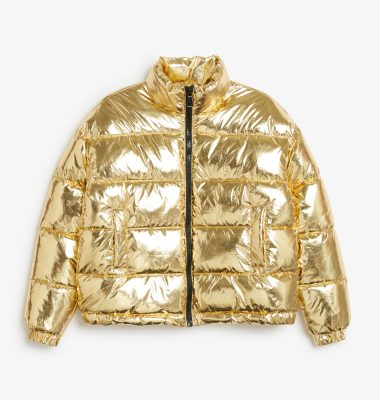 shopping goud gold shiny bomber jas dons monki