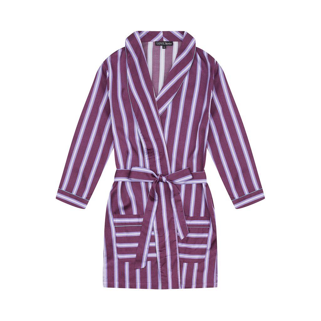 shopping loungewear lounge wear cosy binnen mode pyjama love stories lovestories lingerie kamerjas streepjes strepen