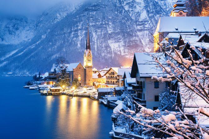 winter, reizen, bestemming, top 10, sneeuw, natuur, citytrip, hallstat, oostenrijk